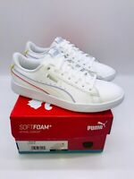 Puma Women's Vikky V2 Lace Up Casual Leather Sneakers - WHITE