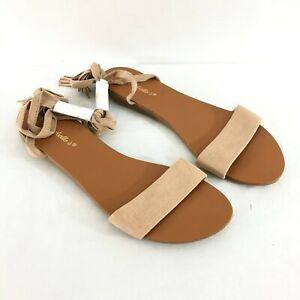 Breckelles Womens Sandals Open Toe Lace Up Faux Suede Fringe Boho Beige Size 8