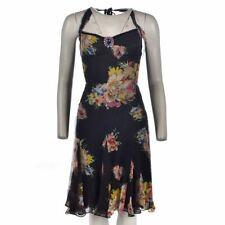 DOLCE GABBANA Dress Black Floral Halterneck With Brooch Size 38 UK 6 WW 228