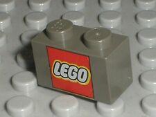 LEGO Dark Gray Brick 1x2 Lego Logo Red Square 3004pt6 3004px8 Set 10018 7194