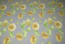 Gray Oval Vintage Tablecloth with SIX Matching Napkins Sunflowers 60 x 79 inches