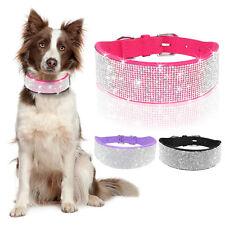 Bling Rhinestone Dog Collar Medium Soft Suede Wide Adjustable Crystal Necklace
