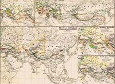 Echte 140 Jahre alte Landkarte ASIEN MONGOLEN Mongolei Kublai Khan Timur 1877