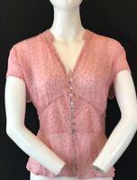 "LAURA ASHLEY Women's Pink Dotty Viscose Short Sleeve BlouseTop UK18 P2P 22""."