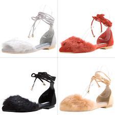 Faux Fur Self-Tie Leg Wrap Ankle Strap Lace Up Ballet Flat Ballerina Slide Shoes