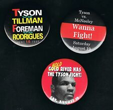 3 1990's Mike Tyson McNeeley Tillman George Foreman boxing pinback buttons