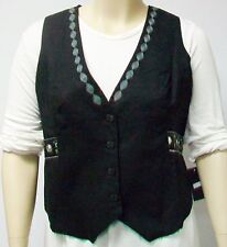 GOZZIP OF DENMARK,THEIR SIZE MEDIUM,BLACK FOLKLORIC VEST WITH SATIN LINING
