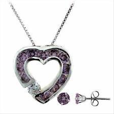 925 Silver Amethyst CZ Heart Pendant and Stud Earrings Set