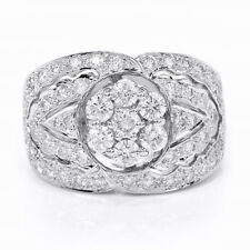 2 carat tw Flawless Diamond Cluster 18k White Gold Ring Wedding Right Hand ct