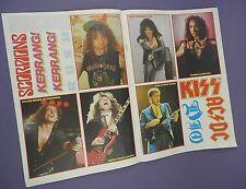 Kerrang! - Legends of Rock - Unused Sheet of Stickers Lot 3 , Gene Simmons etc.