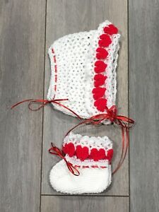 Bonnet And Booties, Little Sweetheart Baby Set With Heart Detail Red Ribbon Bows