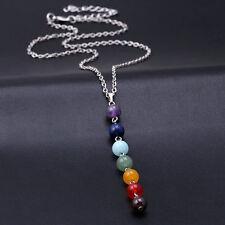 Healing Dowsing Reiki Chakra necklace pendant 7 Crystals. Amethyst Lapis Quartz