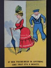 Old Comic Postcard NAVY THEME 'IF HER FIGURE-HEAD IS ANYTHING LIKE THAT' No.957