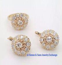 RUSSIAN VINTAGE STYLE 14K YELLOW GOLD DIAMOND MALINKA EARRINGS RING JEWELRY SET