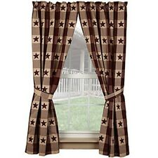 Burgundy Star Check Window curtains with tiebacks