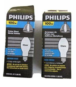 Light Bulbs Phillips 100W Pulse Start Clear Medium Base 2 Packages of 1   OCT21