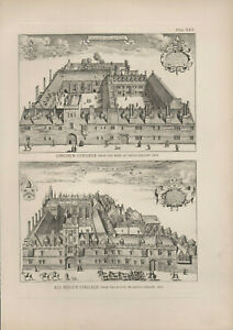 1912 Print Oxford Lincoln College & All Soul's College David Loggan 1675