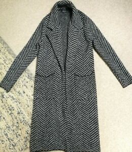 Ladies Zara Knit Long Striped Grey And Black Jacket