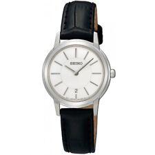 Seiko SXB425 P1 Black Leather White Dial Women's Quartz Watch with Date
