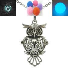 "Vintage Copper Essential Oil Animal Owl Glowing Locket Necklace 24"""