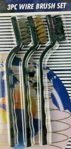 Metal Wire 3x Brush set Brass Nylon Steel Cleaning Welding Masonary Rust Remover