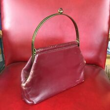 Classic Red Leather Vintage Structured Hand Bag Purse Metal Handle Boho Hobo