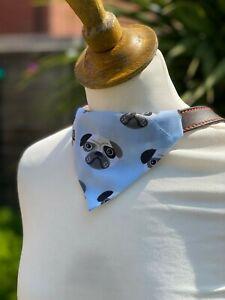 Pug Pink or Blue Dog Bandana Neckerchief Slide on Collar Scarf Neck Tie