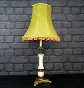 Vintage Ornate Table Lamp With Tassel Light Shade - Onyx & Antique Brass Style