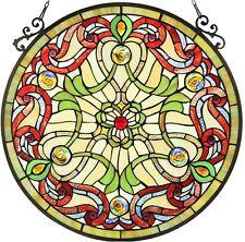 "23.4"" x 23.4"" Rosalina Tiffany Style Stained Glass Window Panel"