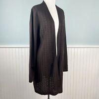 Size 1X Karen Scott Plus Brown Semi Sheer Open Front Cardigan Sweater Tunic NWT