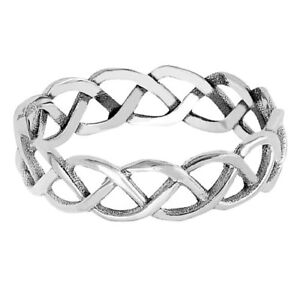 Mens or Womans Celtic Infinity Braid Eternity Band Genuine Sterling Silver Ring
