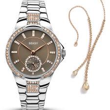 Seksy Eternal Rose Stone Set Ladies Chrome Bracelet Watch with Pendant 2182