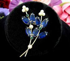 Cobalt Blue Rhinestone Flower Pin Vintage Brooch Faux Pearls Glass Marquise