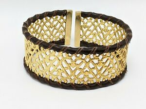 14K Solid Yellow Gold Filigree with Leather Cuff Bracelet (17.38g)