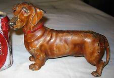 ANTIQUE HUBLEY PA USA CAST IRON DACHSHUND DOG DOORSTOP ART STATUE TOY SCULPTURE