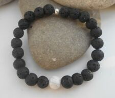 HANDMADE LAVA BEAD ESSENTIAL OILS DIFFUSER BRACELET WITH HOWLITE DIFFERENT SIZES