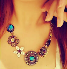 Fashion Flower Charm Jewelry Chain Pendant Crystal Choker Chunky Bib Necklace