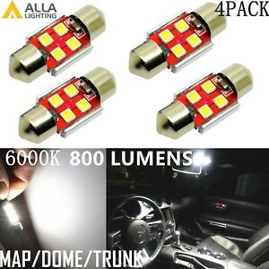 Alla Lighting 800LM 3030 LED Dome Map Trunk Light Festoon Bulb DE3175,White,4x