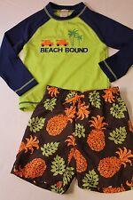 Gymboree Boy Size 4T Pineapple Swimsuit & Beach Bound Rash Guard Top Swim Set