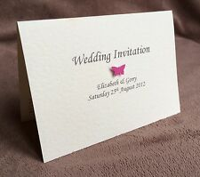 10 x Personalised Handmade Butterfly Wedding Day / Evening Invitations