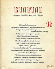 L'INFINI N.13 HIVER1986 LITTÉRATURE,PHILOSOPHIE,ART,SCIENCE,POLITIQUE