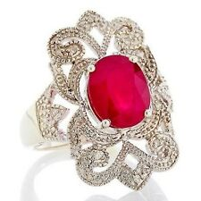 Rarities: Fine Jewelry with Carol Brodie Ruby and Diamond Sterling Silver Ring 7