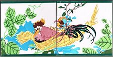 Hen In The Nest Vintage Spanish Handpainted 2 Tiles Spain Cedolesa