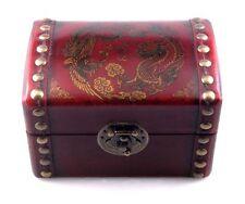 Red Finish Dragon Phoneix Cloud Fire Leather Wood Jewelry Trinket Box Brass Lock