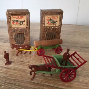 1954 Vintage Diecast Benbros Tv Series x2. Log Cart And Hay Cart Original Boxes.