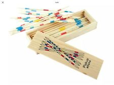 Wooden Pick Up Sticks Wood Retro Traditional Game Pickup Stick Toy Wooden Box Hu