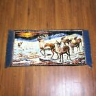 """Small Fringed Rug Wall Hanging Winter Lodge CARIBOU REINDEER Christmas 44"""" x 20"""""""