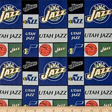 NBA Sports Broadcloth Utah Jazz Patch 100% cotton Fabric by the yard