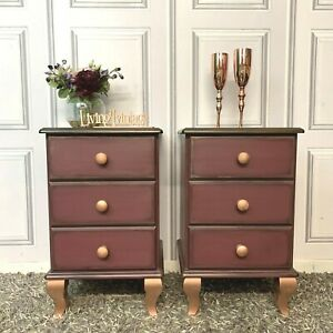 Pair Bedside Cabinets Solid Pine Painted Burgundy / Plum Colour
