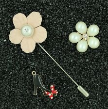 3 pieces Brooch Pins Collar Clip Crystal Heel Bow Flower Pearl Gift Party P31